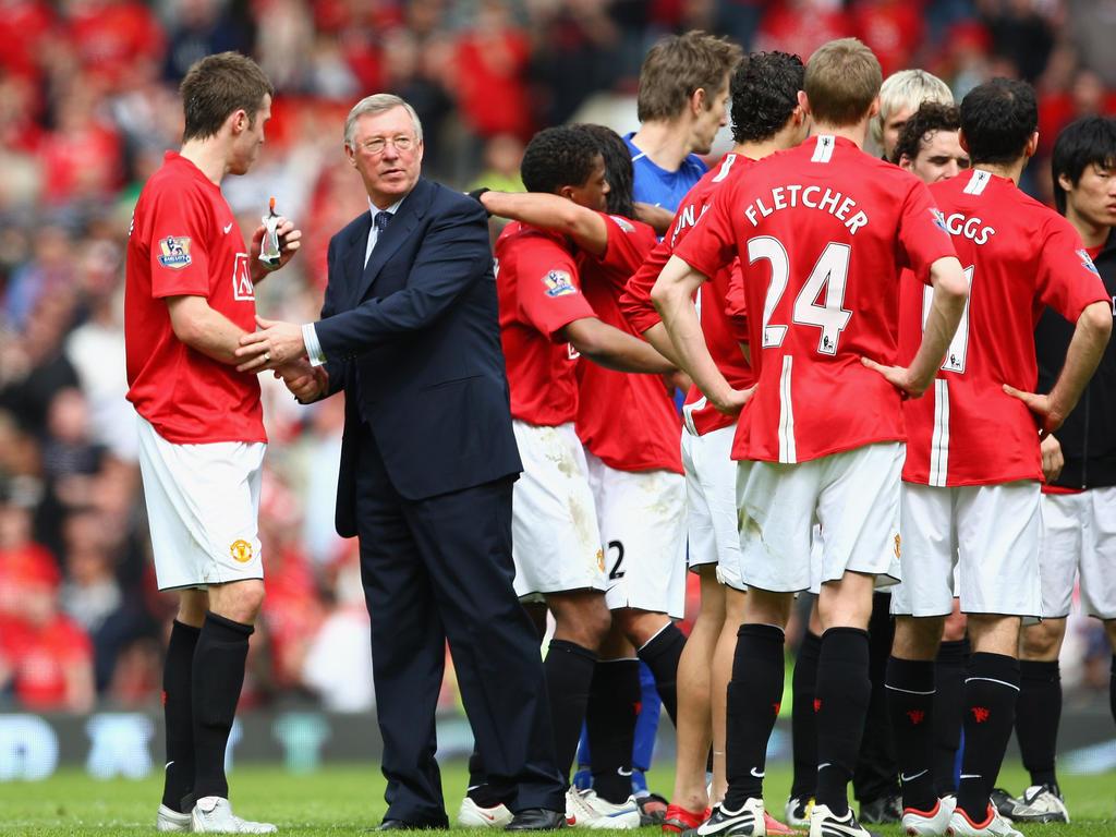 Alex Ferguson mit Michael Carrick und Co.