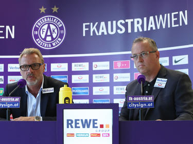 Trainer Thorsten Fink und Sportdirektor Franz Wohlfahrt nehmen die Favoritenrolle der Austria gegen Kukesi an