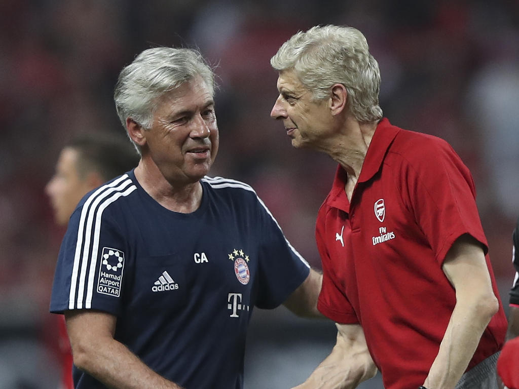 Carlo Ancelotti (l.) wird als Nachfolger von Arsène Wenger gehandelt