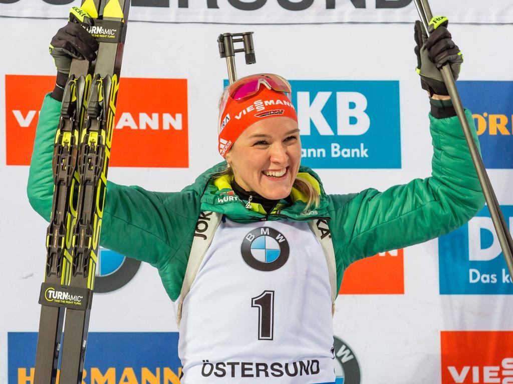 Denise Herrmann feierte in Östersund zum Saisonauftakt gleich zwei Weltcup-Siege